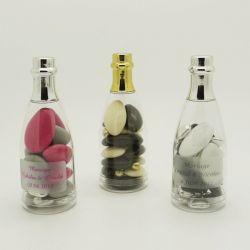 Dragées mariage - Mini bouteille champagne dragées Or ou Argent X4