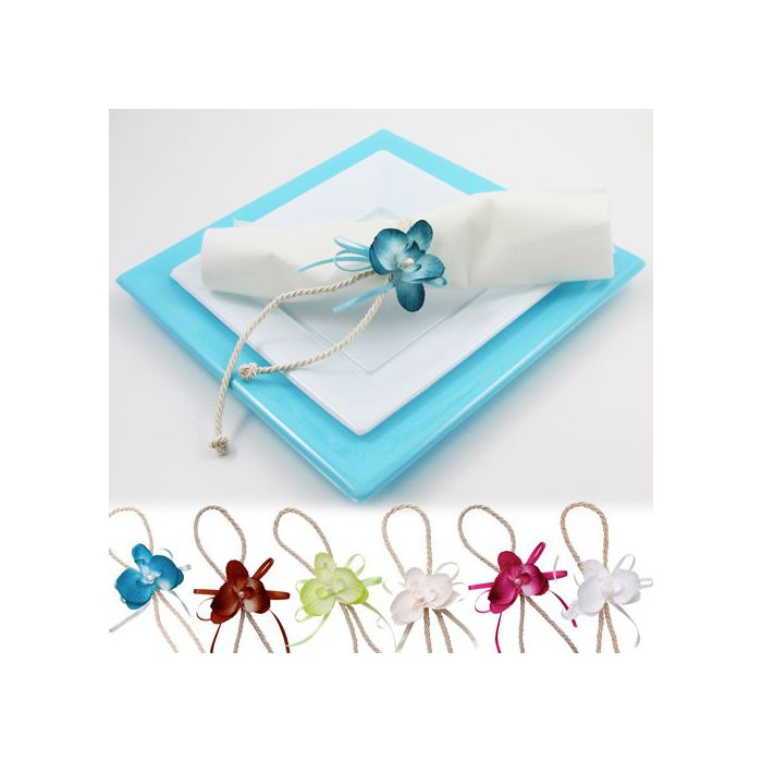 D co de table orchid e attache serviette x2 fleurs de drag es - Deco de table serviette ...