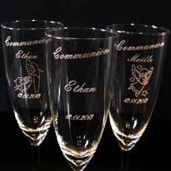 Flûte champagne gravée Communion