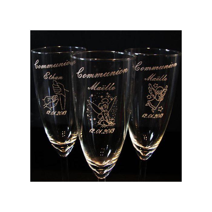 Flute de champagne personnalisée Florescence pour mariage, naissance,