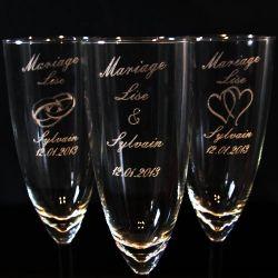 Flute gravée mariage