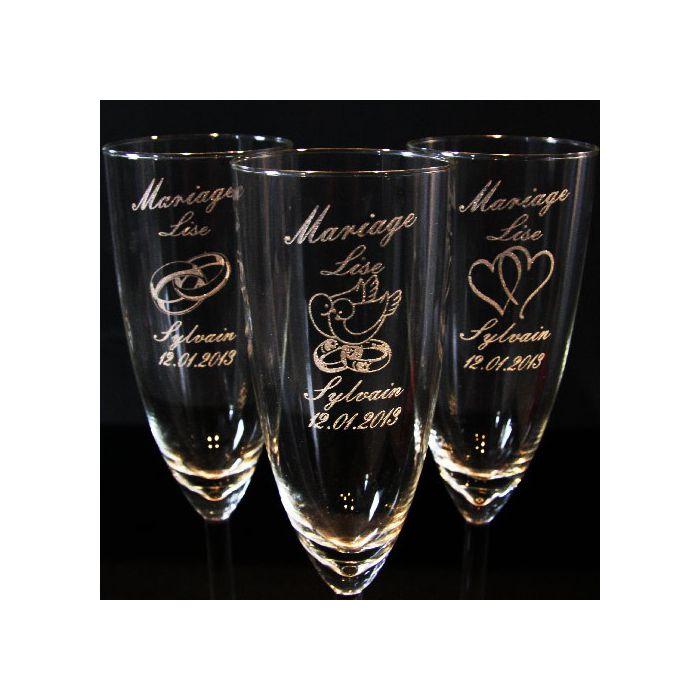 Flûte à champagne personnalisée pour mariage : Vaisselle, verres par