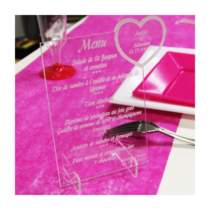 menu grav plexi coeur menu plexiglas mariage fleurs de drag es. Black Bedroom Furniture Sets. Home Design Ideas