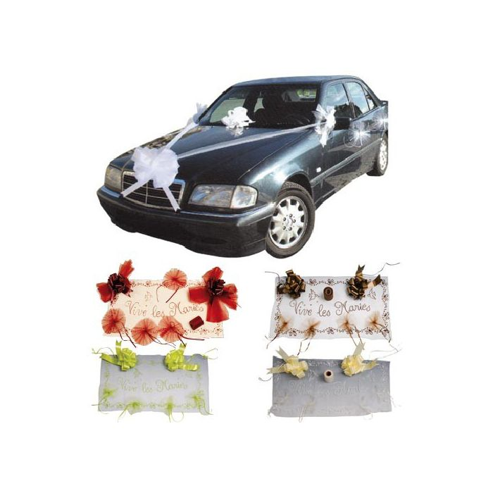 kit d co voiture d coration voiture mariage fleurs de drag es. Black Bedroom Furniture Sets. Home Design Ideas