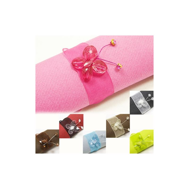 rond serviette papillons diamant fleurs de drag es. Black Bedroom Furniture Sets. Home Design Ideas