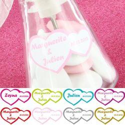 Etiquettes dragées autocollante sticker - Double coeur X12