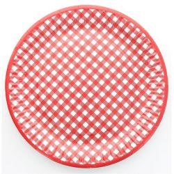 Assiette vichy les 10 pieces - Rouge