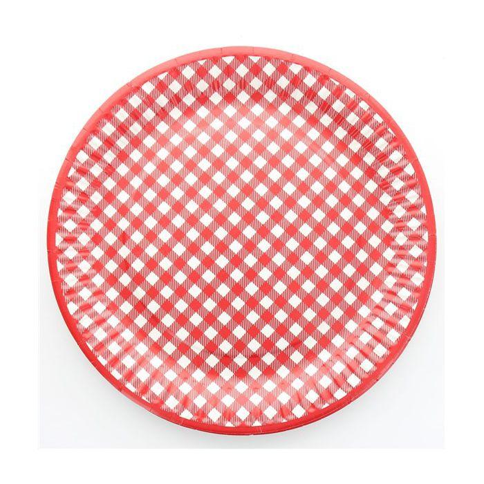 assiette jetable vichy rouge les 10 assiettes en carton pas cher. Black Bedroom Furniture Sets. Home Design Ideas