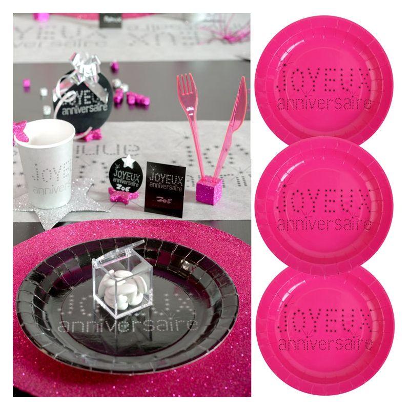assiette jetable anniversaire lot de 10 vaisselle jetable fushia. Black Bedroom Furniture Sets. Home Design Ideas