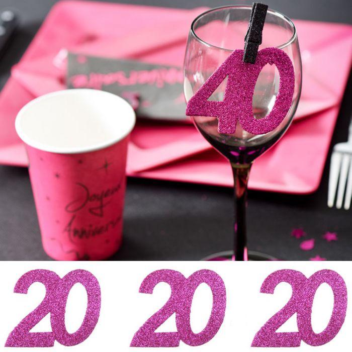6 gros confetti anniversaire fuchsia 20 ans d coration de - Decoration table anniversaire 20 ans ...