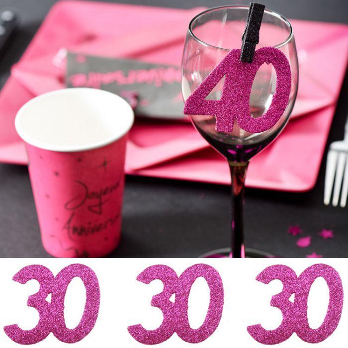 6 gros confetti anniversaire fuchsia 30 ans d coration de - Decoration table anniversaire 30 ans ...