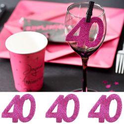6 Gros confetti  Anniversaire - Fuchsia 40 ans