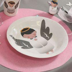 Assiette jetable baptême Ange (lot de 10)