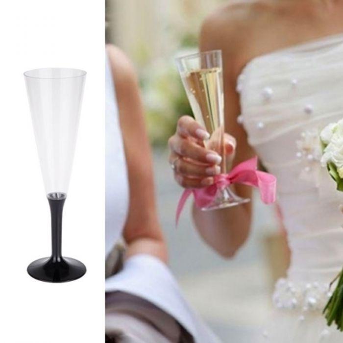 fl te champagne plastique vaisselle jetable 13cl noire lot de 10. Black Bedroom Furniture Sets. Home Design Ideas