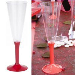 Flûte champagne plastique 13cl (10psc) - Rouge