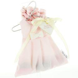 Robe dragées bapême en coton Rose (les  6)