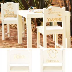 chaises personnalis e enfants et table enfant personnalis e fleurs de drag es. Black Bedroom Furniture Sets. Home Design Ideas