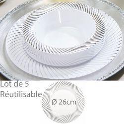 Assiette reutilisable argentée Lamée 26cm (lot de 5)
