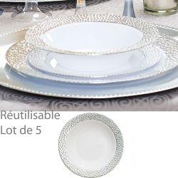 Assiette creuse jetable bol, reutilisable Prestige (Lot de 5)