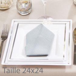 Assiette jetable carré bordée argent  24x24cm (lot de 5)