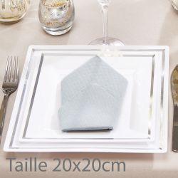 Assiette jetable carré bordée argent  20x20cm (lot de 5)