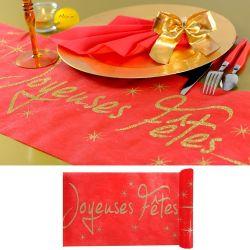 Chemin de table Joyeuses Fêtes - Rouge