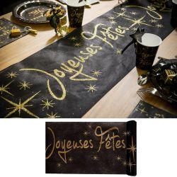 Chemin de table Joyeuses Fêtes - Noir