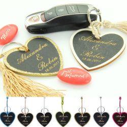 Sujet dragées porte-clés ardoise coeur X6