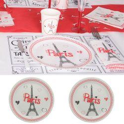 assiette jetable tour eiffel paris lot 10 - Assiette Jetable Mariage
