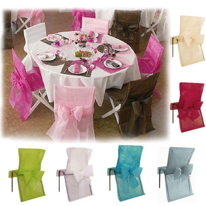 housse de chaise avec noeud x10 d corations de salle fleurs de drag es. Black Bedroom Furniture Sets. Home Design Ideas